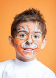 Little boy in tiger make-up Royalty Free Stock Photography