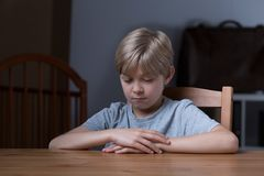 Little Boy timido Fotografie Stock Libere da Diritti