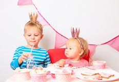 Little boy and toddler girl celebrating birthday Royalty Free Stock Photo