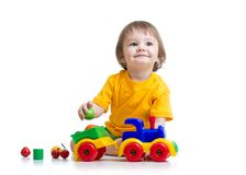 Little boy toddler playing with toy Royalty Free Stock Photo