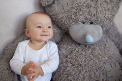 Little boy together favourite teddy Royalty Free Stock Images