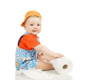 The little boy with a toilet paper. On a white background stock image