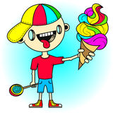Little boy with tongue sticking out is holding a colorful ice cream in his hand Royalty Free Stock Photos