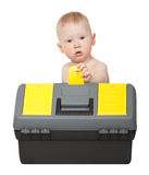 Little boy with toolbox Stock Images
