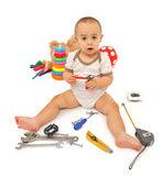 Little boy with tools Stock Photography