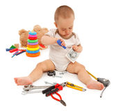 Little boy with tools Royalty Free Stock Image