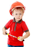 Little boy with tools in hand Stock Photo