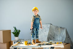 Little boy with tools Stock Photos