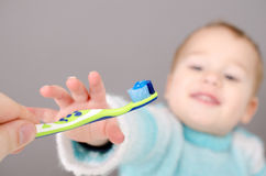 Little boy with a toothbrush Stock Image