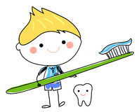 Little boy and toothbrush Royalty Free Stock Images