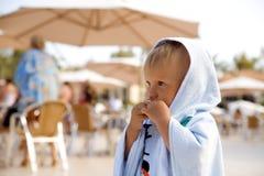 Little boy in towel Stock Image