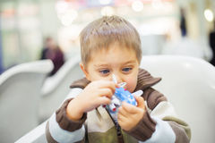 Little Boy Toy Airplane Stock Image