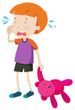 Little boy with a toy crying Stock Images