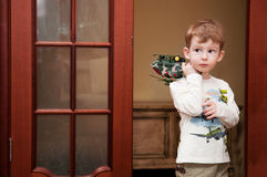 Little boy with toy helicopter Royalty Free Stock Photography