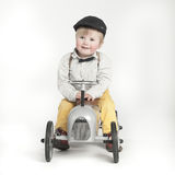 Little boy with toy tractor. (isolated on white Stock Photos