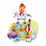 Little boy with toys Stock Photo