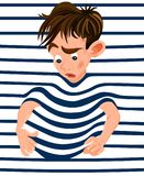 Little boy trapped in a striped background. Vector cartoon character funny faces. Little boy trapped in a striped background. Vector cartoon character funny face royalty free illustration