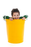 Little boy in trash can Royalty Free Stock Photo