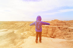 Little boy travel in Bardenas Reales national park, Spain Royalty Free Stock Images
