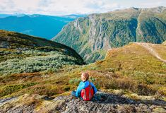 Little boy travel hiking in mountains, family in nature. Travel royalty free stock images