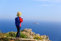 Little boy travel in mountains royalty free stock images