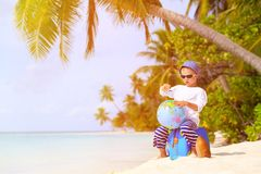 Little boy travel on summer beach Royalty Free Stock Photography