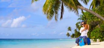 Little boy travel on summer beach Stock Photography