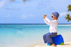 Little boy travel on summer tropical beach Royalty Free Stock Photo