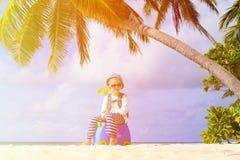 Little boy travel on summer tropical beach Royalty Free Stock Photos