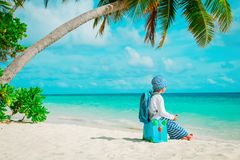 Little boy travel on tropical beach Royalty Free Stock Images