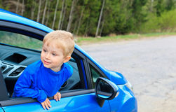 Little boy traveling by car Royalty Free Stock Images
