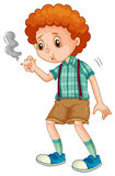 Little boy trying to smoke cigarette. Illustration Royalty Free Stock Image