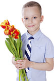 Little boy with tulips Royalty Free Stock Photography