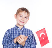 A little boy with turkish flag Royalty Free Stock Photos