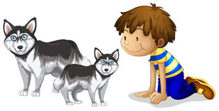Little boy and two dogs Stock Photo