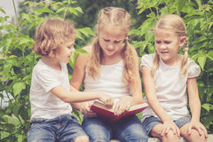 Little boy and two girls with book sitting in the park Stock Photography