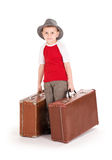Little boy with two road suitcases. Stock Photography
