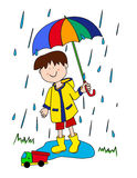 Little boy with umbrella. Large childlike cartoon character: little boy with a big smile holding an umbrella and playing in the rain by stepping into a puddle Royalty Free Stock Image