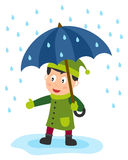 Little Boy with Umbrella. A cute little boy with a blue umbrella in a rainy day. Eps file available Stock Images