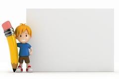 Little Boy-unbelegter Vorstand und großer Bleistift Stockbilder