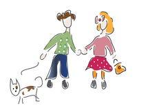 Little Boy und ein Mädchen mit Hund Lizenzfreies Stockbild