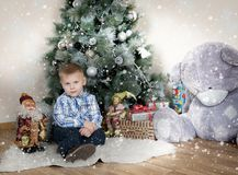 Little boy under the tree Stock Images