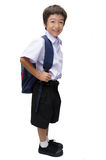 Little boy in uniform ready for school isolated Royalty Free Stock Image