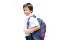 Little boy in uniform ready for school isolated Royalty Free Stock Photo
