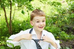 The little boy unties a tie against green Royalty Free Stock Image