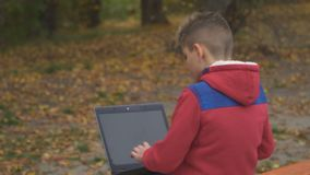 Little boy uses laptop in autumn park. Little boy sits back to the camera on the bench in autumn park. The boy in red jacket uses laptop, turns to camera and stock video