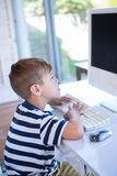 Little boy using computer in the living room Stock Image