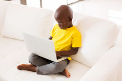 Little boy using laptop Royalty Free Stock Photography