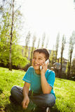 Little boy using smart phone Royalty Free Stock Photo