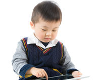 Little boy using tablet Royalty Free Stock Image